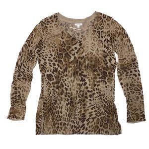 Apt. 9 V Neck Leopard Cheetah Print Top Sweater M